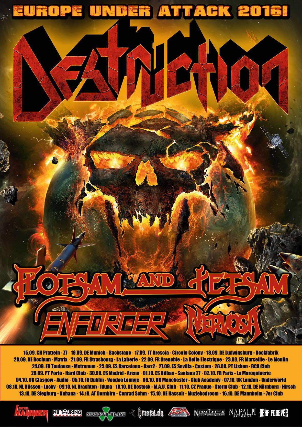 Destruction, Europe Under Attack 2016 Tour Poster